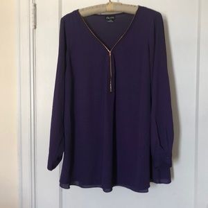 City Chic Plum quarter-zip top